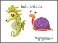 Character design 2 painting digital art design art popular modern tortoise sea horse game game app 2d art bangladesh character illustration