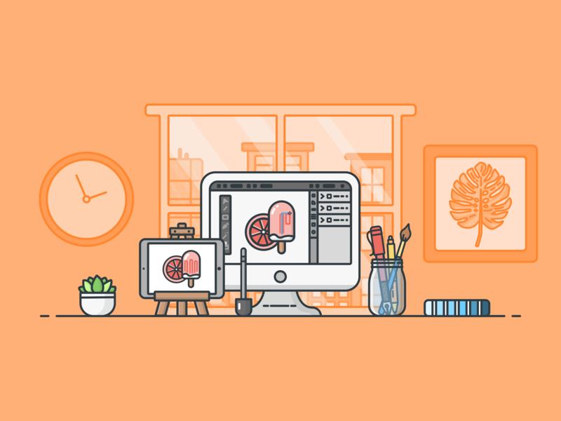 Illustrator's Work Space ipadpro illustration design icon office illustrator desk workspace