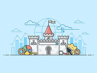 Search Engine Optimization Castle search engine optimization search bar key google seo castle illustrator design illustration icon