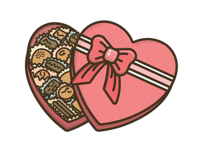 Box Of Chocolates romantic love heart design icon illustration chocolate valentines day