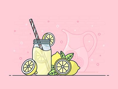 Lemonade lemons refreshing lemonade illustrator design icon illustration