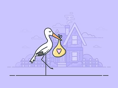 Stork vector baby shower baby bundle house stork illustrator design icon illustration