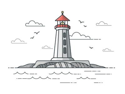 Peggy's Cove Lighthouse ocean lighthouse vector illustrator design icon illustration