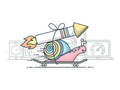 Rocket Snail speed test skateboard rocket snail speedometer vector illustrator design icon illustration