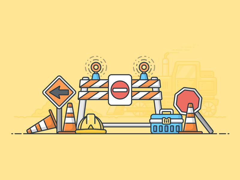 Roadblock hardhat stop sign detour bulldozer roadwork construction vector illustrator design icon illustration