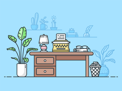 Writers Desk plants workspace desk typewriter vector illustrator design icon illustration