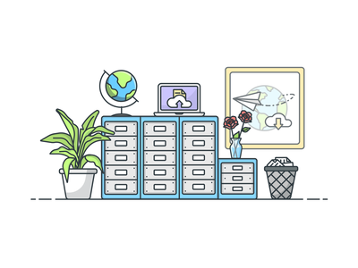 Filing Cabinet globe documents office filing workspace vector illustrator design icon illustration