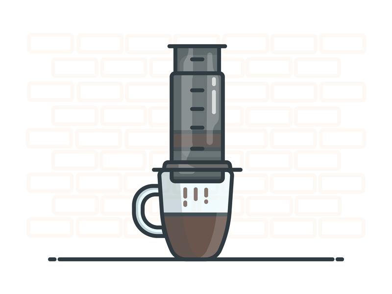 Aeropress coffee cup aeropress coffee vector illustrator design icon illustration