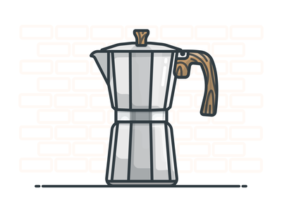 Moka Pot moka pot coffee shop coffee cup espresso coffee vector illustrator design icon illustration