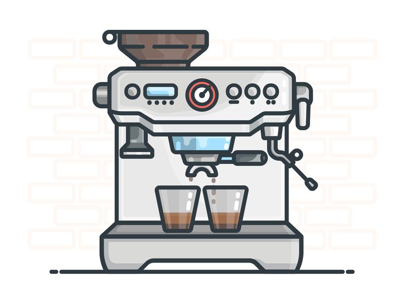 Espresso Machine coffee maker coffee shop espresso machine espresso coffee vector illustrator design icon illustration