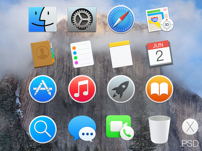 OS X Yosemite Icons os x osx psd yosemite icons free flat apple mac