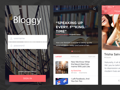 Blogging App ux ui mobile app flat blog blogging listing writing reader newspaper