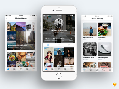 Photo Sharing App Idea profile social design sketch free ios album sharing photo app ui ux
