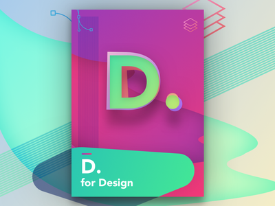 D For Design vector sketch poster colourful design ui