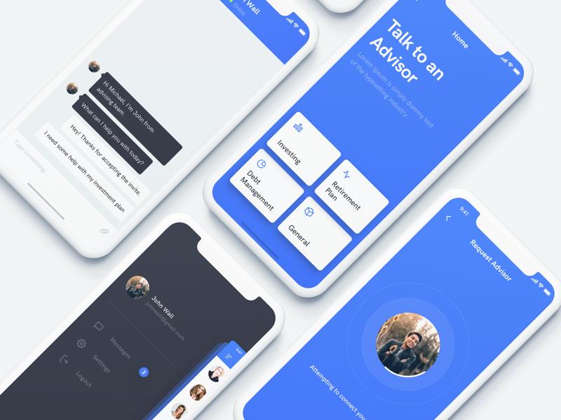 Advisor App minimal flat card chat iphonex mobile design ux ui app advisor