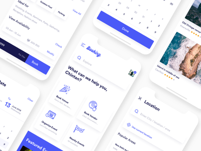 Booking App concept ui ux minimal white neat clean iphonex app booking