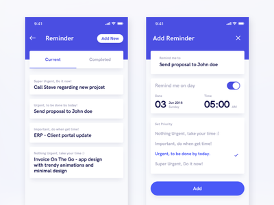 On The Move App - Reminder modern white blue ui minimal neat clean design app reminder