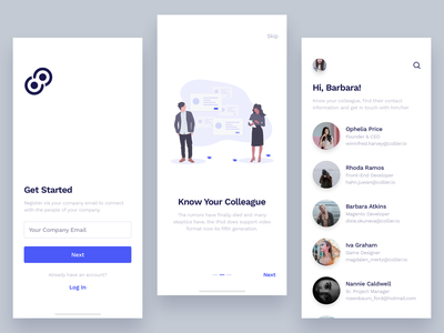 Employee Directory App inhouse login neat walkthrough listing employee directory ios12 iphonex illustration clean sketch minimal app design ux ui
