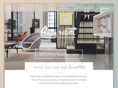 Gava resort design clean navigation homepage web modern layout mobile mockup design