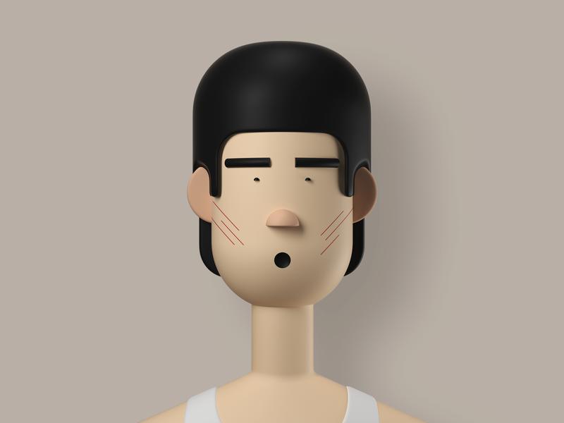 Bruce Lee geometric shape illustrator 3d character 3d character modeling illustration bruce lee