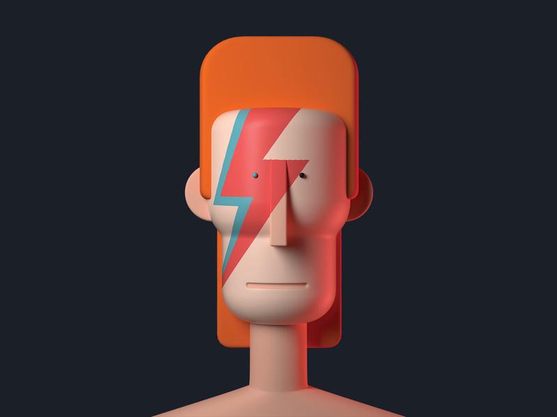 Bowie ziggy stardust ziggy celebrity illustraiton 3d character bowie david bowie
