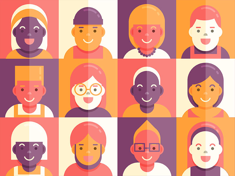 Hello Dribbble! community diversity flat vector illustration