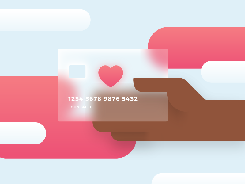Pay With Love credit card checkout purchase heart pay flat blog vector illustration