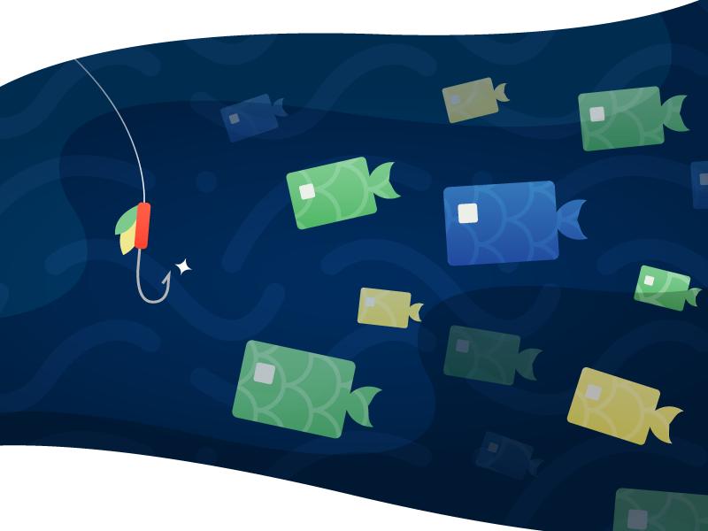 Gone Phishing credit card security ocean fish vector illustrator illustration