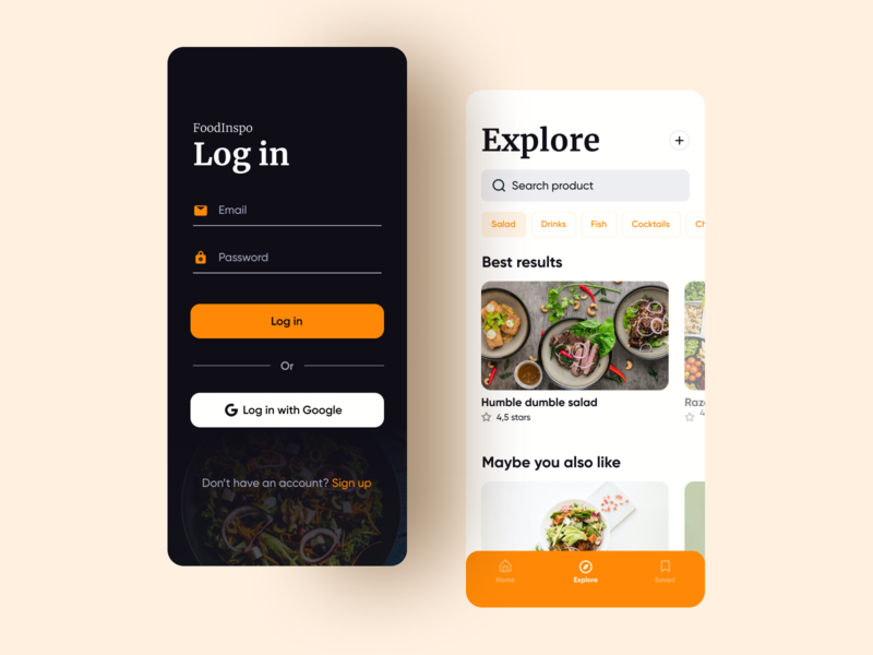 Food inspiration onboarding food dailyui dark clean app ui clean app design