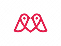 Letter M Birds Love Logo