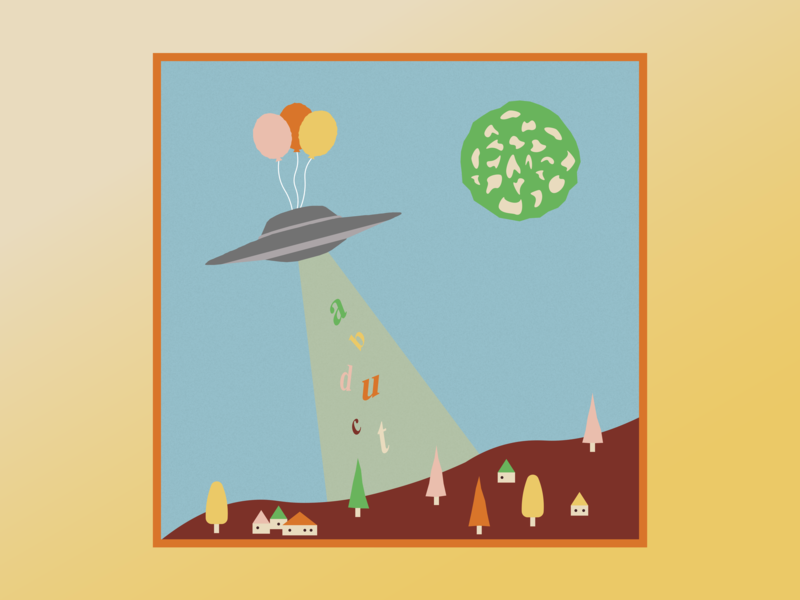 abduct. word art spaceship moon surreal landscape balloons ufo