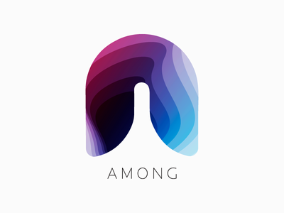 Among (2) logo design logo identity graphic gradient design colourful clean branding brand app abstract