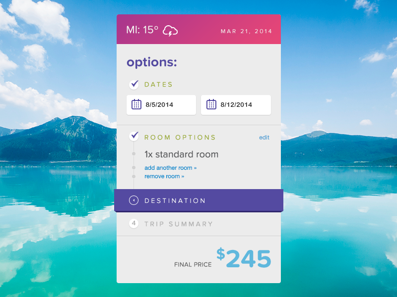 Discarded Sidebar Concept sidebar travel ui ux web photoshop design list form widget