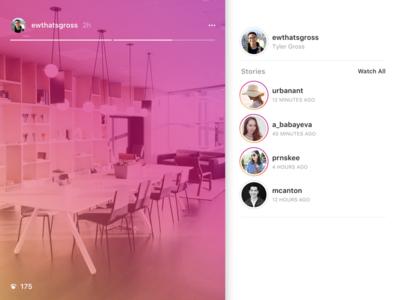 Stories on Instagram.com css instagram stories mobile web ui ux web design instagram