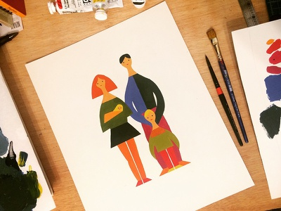 Family portrait sketch design tabloid painting print color study color artwork art drawing acrylic illustration