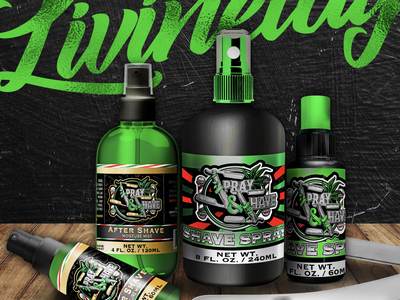 Spray & Shave Barber Product Labels infused womeninbusiness cannabispackaging labeldesign shaving barbershop barber logo barber shop barbers