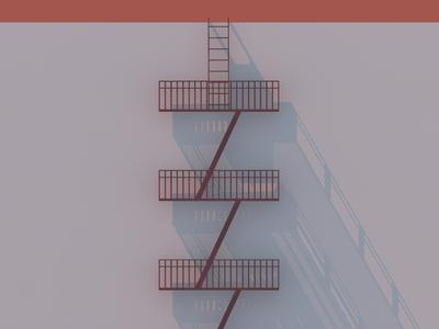 Fire Escape (WIP) fire escape symmetry shadows dusk geometry architecture building