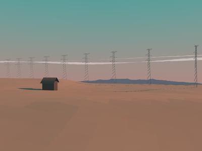 Empty Landscape 01 landscape sky sunset 3d concept art mountains