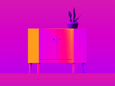 STUDIO INTERIOR 01. gradient pink color abstract 3d gif
