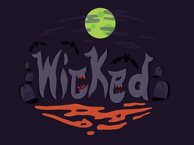 Wicked illustration type lettering