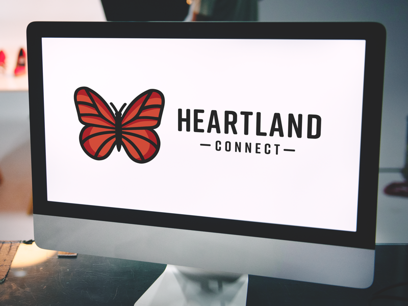 Heartland Connect Logo butterfly branding graphic design logo