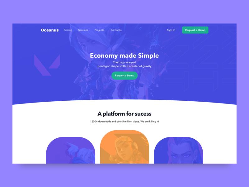 Oceanus concept web design blue design web ux ui