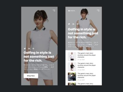 Golfing Fashion DW 011 mobile design web design black white design web ux ui