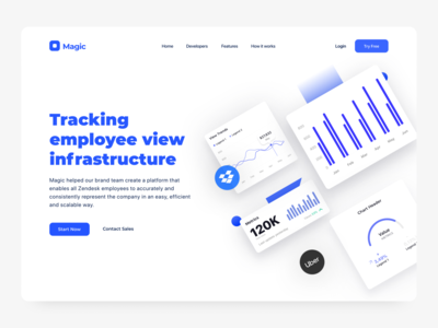 DW 014 Tracking Employee View Infractructure web design blue white design web ux ui