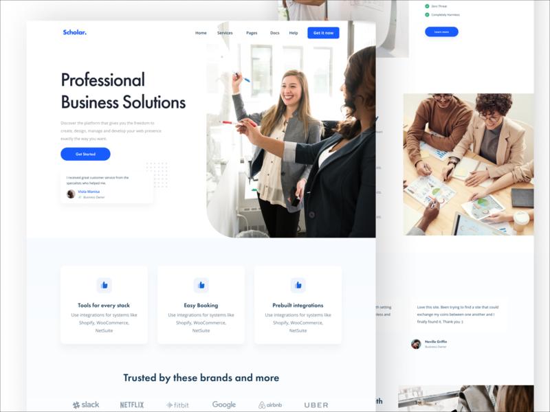 DW 019 - Business Solution blue web design black white design web ux ui