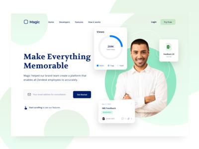 DW020- Magic Memorize green blue web design white design web ux ui