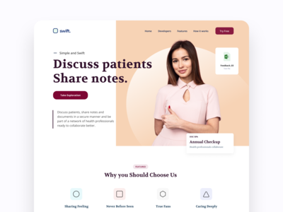 DW021 - Discuss Patients orange green webdesign red white design web ux ui