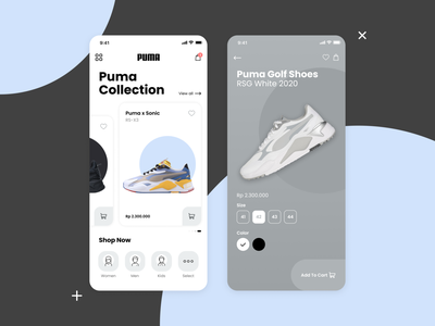 PUMA flat branding typography android design clean mobile ios ux ui app