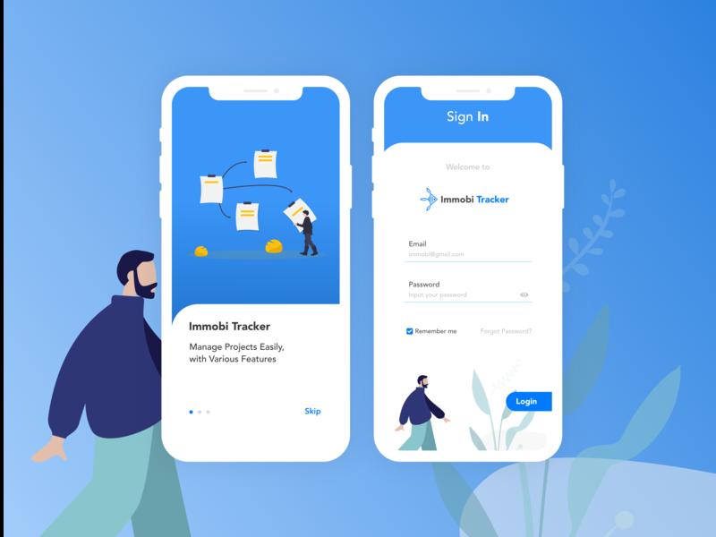 Project Tracker website artwork animation xd sketch illustrator icon android illustration blue minimal clean vector mobile ios ux ui flat app design