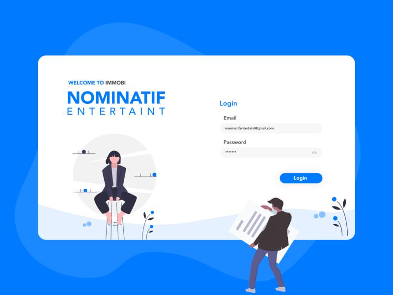 Nominatif Entertaint logo icon website sketch xd android blue illustration typography minimal clean vector mobile branding ios ux ui flat app design